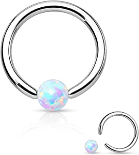 16 Gauge Synthetic Opal Captive Bead Ring 316L Surgical Steel (Choose Color)