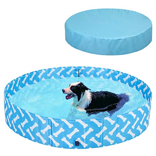 BINGPET Dog Swimming Pool and Cover Set, Foldable Durable Pet Pool with Pool Cover, Summer Collapsible Bathing Tub with Bone Patterns, Fit for Large Dogs and Kids