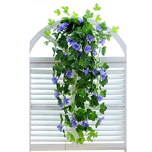 XHSP 2 Bunches Artificial Vines 35.4' Morning Glory Hanging Plants Silk Garland Fake Green Plant Home Garden Wall Fence Stairway Outdoor Wedding Hanging Baskets Decor