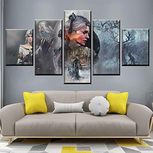 CANPIC Leinwand Gemälde Wandkunstwerk 5 Stücke Poster The Witcher 3 Wilde Jagd Bilder Spiel Drucke Wohnkultur Für Wohnzimmer Modular, Mit Rahmen, 20X35 20X45 20X55 cm