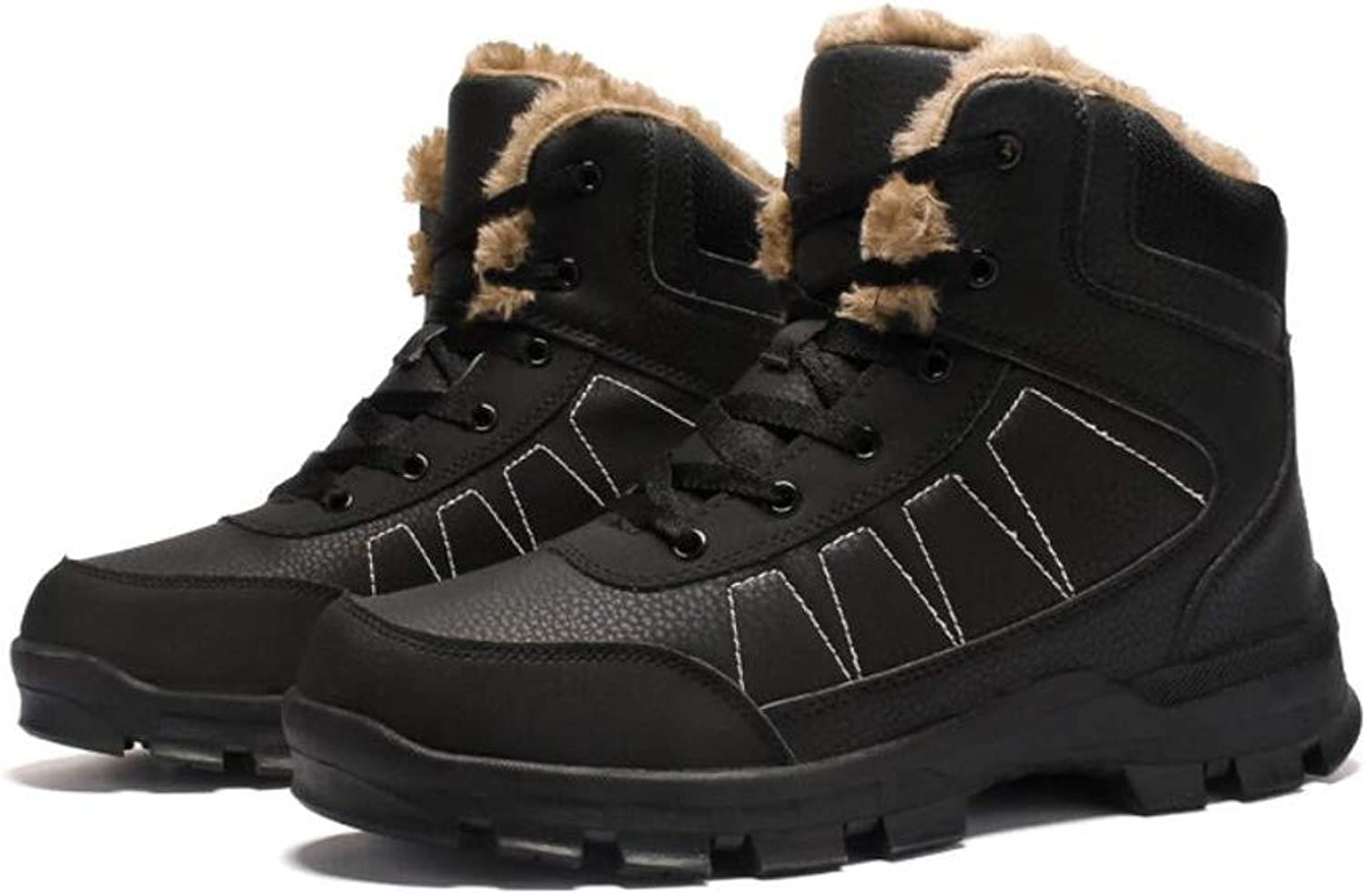 Snow Sneakers Mid Top shoes Men Winter Waterproof Hiking Boots Lace-up Booties Climbing Outdoor