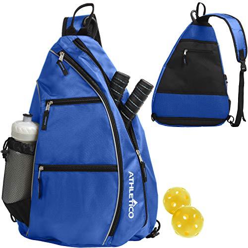Athletico Sling Bag - Crossbody Backpack for Pickleball, Tennis, Racketball, and Travel for Men and Women (Blue)
