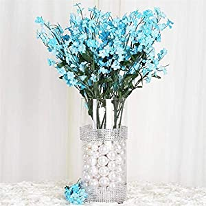 Tableclothsfactory 12 Bushes Baby Breath Artificial Filler Flowers for DIY Wedding Bouquets Centerpieces Party Home Decoration – Turquoise