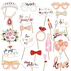 【23pcs Bridal Shower Game Photo Booth Props】Konsait exclusive customization metallic rose gold hen Party photo booth Props, Assorted Designs - crowns, diamond ring, bride and team bride glasses, i do, love is in the are,she said yaaas. 【Easy assemble...