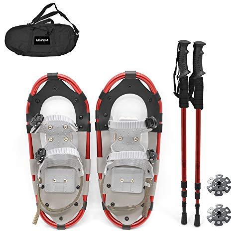 Lepeuxi Zapatos de Nieve Zapatos de Nieve de Aluminio con Polos Ajustables Bolsa de Transporte para Mujeres Hombres