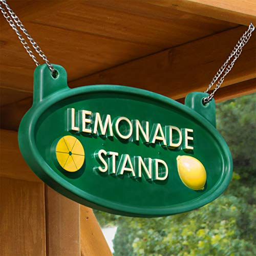 Gorilla Playsets 07-0024 Lemonade Stand Sign with Chain Wooden Swing Set Accessory, Green