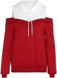 Women Hoodie Sweatshirt Off Shoulder Long Sleeve Hooded Pullover Tops Blouse