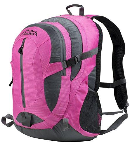 Andes 35 Litre Bright Pink Rucksack/Backpack for Camping/Hiking/Travel/School Bag