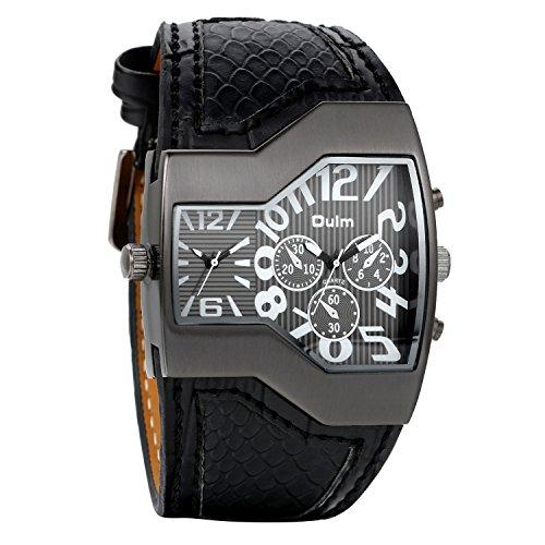 Avaner Grande Reloj de Hombre Militar Deportivo Reloj de Pulsera Negro, Correa de Cuero Ancha Reloj de Piloto 2 Zonas de Horarios Diferentes, 3 Subesferas Decorativas