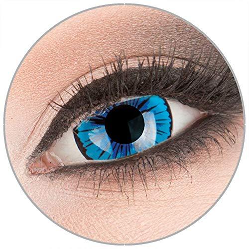 Farbige blaue Crazy Fun Mini Sclera 17 mm Kontaktlinsen 1 Paar 'Kami' mit Behälter - Topqualität von 'Evil Lens' zu Fasching Karneval Halloween ohne Stärke