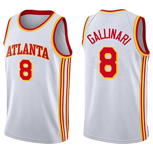 KJX Jersey de Baloncesto para Hombres, 2021 Halcones de Temporada 8# Gallinari City Edition Jersey, Deportes de Baloncesto Tops de Ocio al Aire Libre Camisetas (S-2XL) White-L