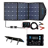 ACOPOWER 120W Foldable Solar Panel, 12V Sunpower Foldable Solar Suitcase with ProteusX 20A Charge Controller in Suitcase