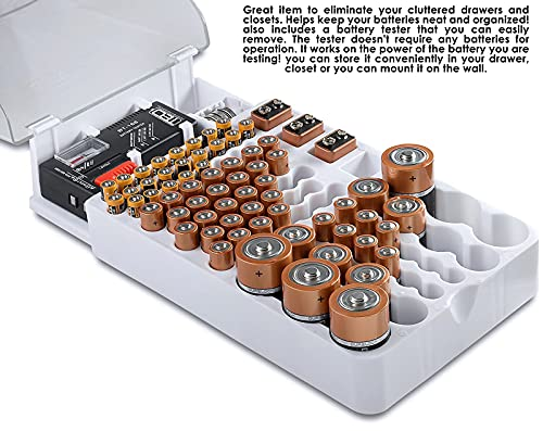 The Battery Organizer Storage Case with Hinged Clear Cover, Includes a Removable Battery Tester, Holds 93 Batteries Various Sizes