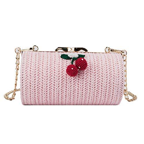 Qinlee Stroh Schultertasche Strandtaschen für Damen Boho Stroh Tasche Handtaschen mit Kirsche Sommer Rattan Tasche handgemachte gewebte Strandtasche für Mädchen-Rosa