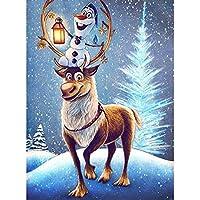 WEIFENGX油絵 数字キットによる絵画 塗り絵 大人 手塗り DIY絵 デジタル油絵 フレームレス 40x50cm - クリスマスの雪だるまとエルク