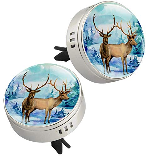 Ink Deer Tree 2 pcs silver Car Essential Oil Diffuser Vent Clip Aromatherapy Diffuser Locket Air Freshener with 4 Refill Pads 1.33x1.83in