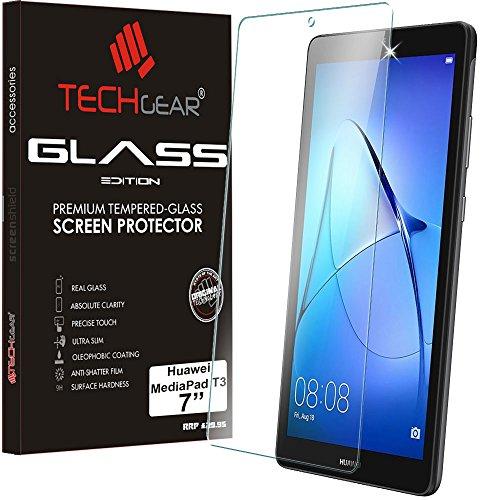 """TECHGEAR Vetro Temperato Compatibile con Huawei MediaPad T3 7 (7' Schermo) - Autentica Pellicola protecttiva in Vetro Temperato Salvaschermo per Il Huawei Mediapad T3 7"""" Tablet"""
