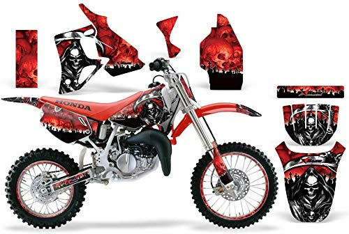 AMR Racing MX Dirt Bike Graphics kit Sticker Decal Compatible with Honda CR80 1996-2002 - Reaper Red