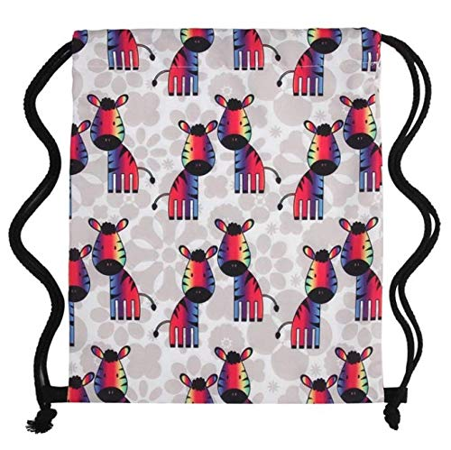 Impresión Zebras Girls Student Drawstring Bag Mujer Mochila con cordón 30 * 39Cm