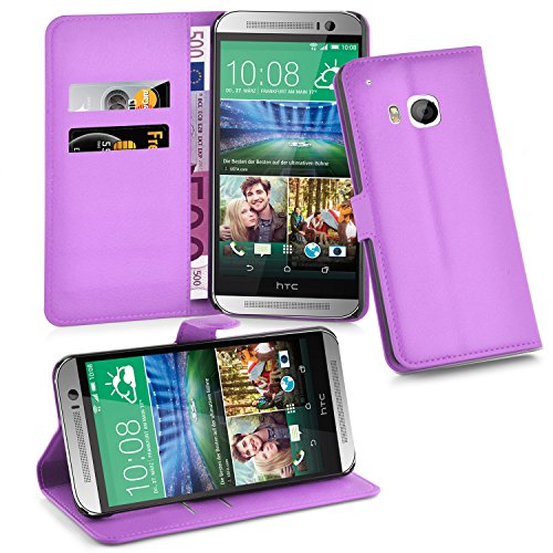 Cadorabo Hülle für HTC ONE M9 (3. Gen.) - Hülle in Mangan VIOLETT – Handyhülle mit Kartenfach & Standfunktion - Hülle Cover Schutzhülle Etui Tasche Book Klapp Style