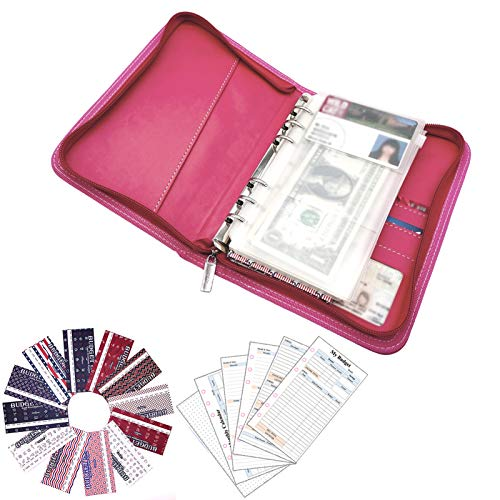 rnairni All-in-One Cash Envelopes Notebook - Finances Organizer Calendar Budget Planner Notebook with 2021 Weekly & Monthly Planner Refill & 12 Budget Envelopes & Budget Sheets (Light Pink)