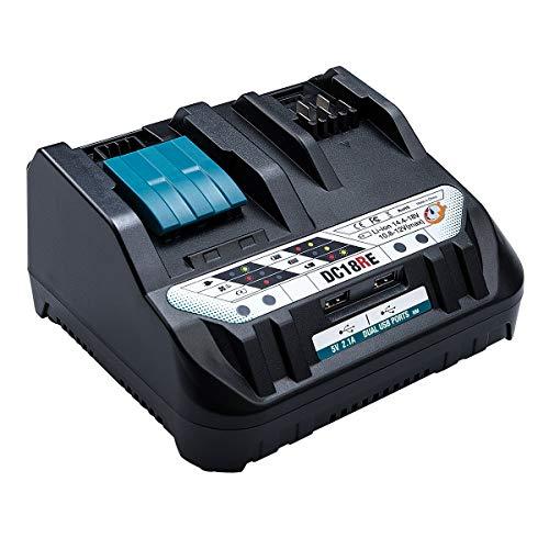 WaxPar DC18RE 互換充電器 2口充電器 適合マキタ 10.8V/14.4V/18V リチウムイオンバッテリ 対応 BL1040B BL1015 BL1430 BL1440 BL1450 BL1460 BL1815 BL1830 BL1840 B