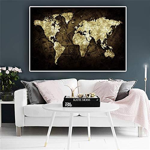 wZUN Dinero en el Mapa del Mundo póster Carteles e Impresiones en Blanco y Negro sobre Lienzo Pintura Pared de Arte nórdico escandinavo habitación de los niños 50x70 cm