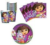 Dora The Explorer Birthday Party Supplies Set Plates Napkins Cups Kit for 16