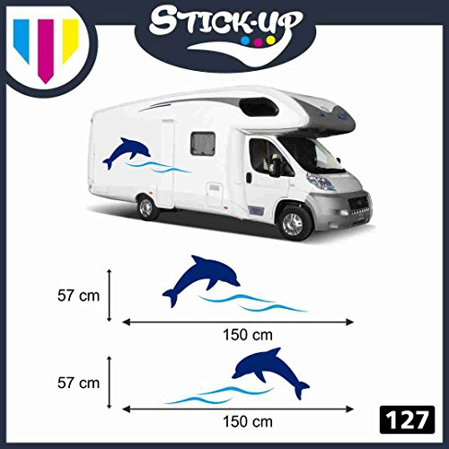 Stick-up Decacolmania - Kit de 2 Adhesivos para autocaravanas - Delfín Ondas - Adhesivos para autocaravanas - Kit Completo de Vinilo Adhesivo - Tiras Adhesivas gráficas para caravanas y autocaravanas