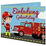 5 Geburtstagskarten zum selber beschriften mit passenden Umschlägen, Motiv: Feuerwehrauto und Junge, Einladungskarten für Kinder mit beschreibbaren Feldern, Klappkarten im Set zu 5 Stk.