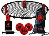 Kickball Pro | Kit Complet Compétition | Roundnet | Qualité Premium | De 2 à 4 Joueurs | 1 Mini Filet | 3 Ballons | 1 Pompe à Air | 1 Housse | Jeu Été Extérieur Ados et Adultes | OriginalCup®