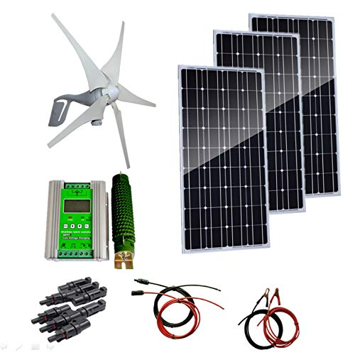 Auecor 700 W Wind-Solar-Generator-Set: 3 Stück 100 W Solarmodule & 400 W Windturbine Generator & Hybrid-Controller & Zubehör