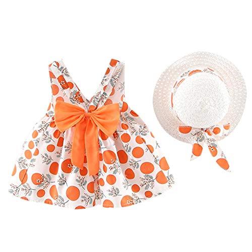 Xmiral Baby Kind Mädchen Ärmellos Rückenfrei Bowknot Prinzessin Kleider Hut Outfit Kleinkind Kind Punkt Gedruckt Gown Beachwear Sommerkleid(Orange,6-12 Monate)