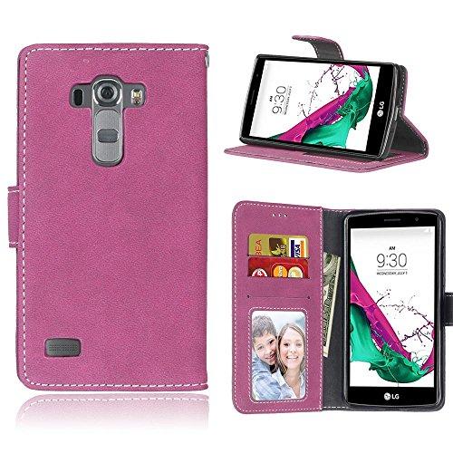 YHUISEN Retro Solido cassa del cuoio colore PU Premium flip copertura protettiva della cassa in foglio di slot per schede / stand per LG G4 Beat / G4 / H735 ( Color : Rose )