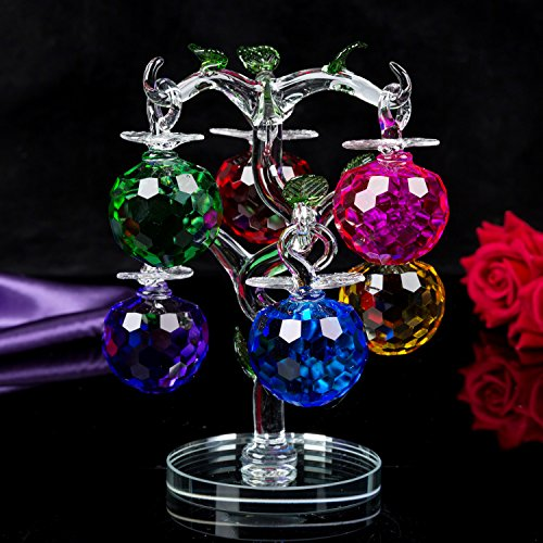 London Boutique Decorative Crystal Glass Apple Tree 6 Crystal Clear Multi Coloured Apples Giftware Present Blue Gift Box (Multi coloured)