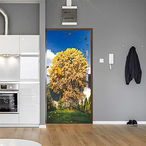 DFKJ Pegatina en la Puerta Papel Pintado Autoadhesivo Paisaje Abstracto Imagen de impresión Arte de la Pared Mural Armario Renovación Decoración para el hogar A5 86x200cm