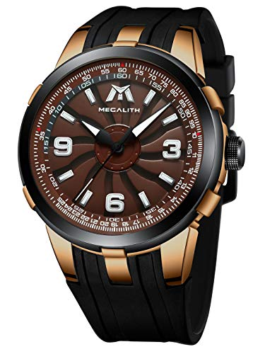 MEGALITH Reloj Hombre Militar Negro Reloj Deportivo Hombre Esfera Grande Analogico Relojes de Pulsera Impermeable Caucho Diseñador de Cuarzo Luminoso