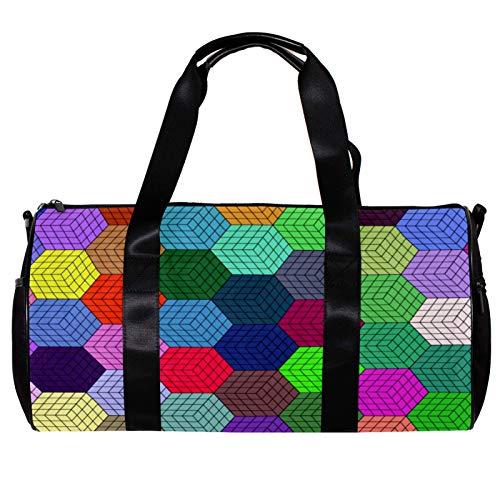 Round Gym Sports Duffel Bag With Detachable Shoulder Strap 3D Illusion Geometric Training Handbag Overnight Bag for Women And Men