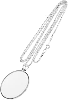 MagiDeal Magnification Glass 5x Magnifying Glass Pendant Magnifying Glass With Chains Monocle Necklaces - Silver, as described