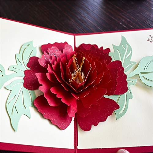 Tarjeta desplegable con diseño de rosa roja, San Valentín, Día de la Madre, compromiso, boda, amor