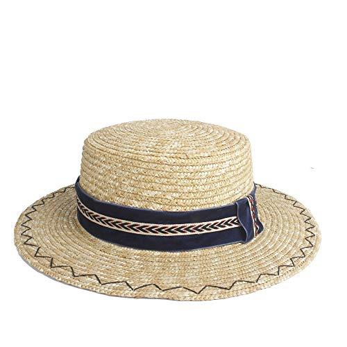 kimreaber Sombrero Panamá de verano para mujer, sombrero de sol de paja de ala corta, sombrero plano para mujer, sombrero de iglesia, tela azul oscuro para hombre (color 1, tamaño: 56-58 cm)