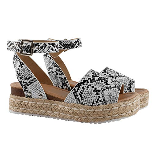 Gnpolo Womens Wedge Sandals Snakeskin Platform Espadrilles Sandalias Casual Summer Shoes