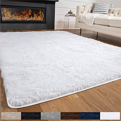 GORILLA GRIP Original Premium Fluffy Area Rug, 7.5x10 Feet, Soft High Pile Shag Carpet, Washer and Dryer Safe, Modern Rugs for Floor, Luxury Carpets for Home, Nursery Bed and Living Room, Bright White