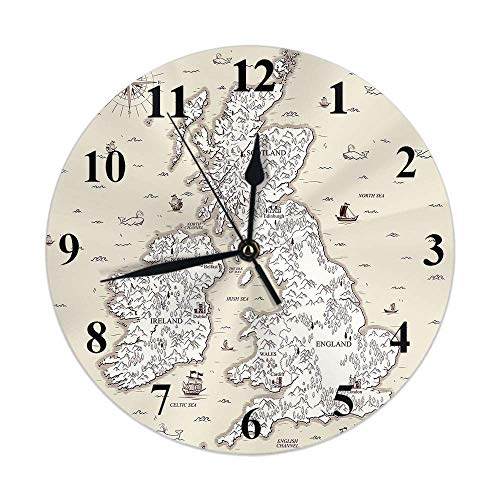 Reloj de Mapa Vintage Mapa náutico Great British England Barco Brújula Reloj de Pared Redondo Slient Non Ticking Rústico Decoración para el hogar 10 Pulgadas para Cocina Baño Oficina