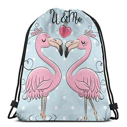 XCNGG Bundle Backpack Outdoor Shopping Knapsack Two Cute Pink Flamingos Rope-Pulling Bag Sports Bag Suitable for Fitness Shopping and Yoga
