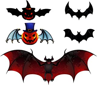 Halloween 3D Bats Decoration , 60 PCS Realistic PVC Pumpkin Scary Black Bat Sticker for Home Decor DIY Wall Decal Bathroom...