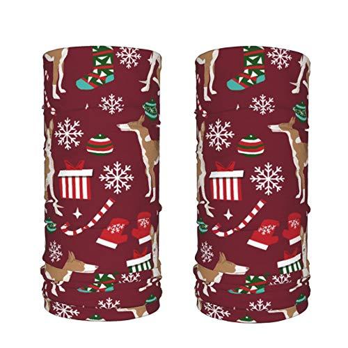 Dyfcnaiehrgrf Ibizan Hound Weihnachten – Rubinrot, 2 Stück Bandana Gesichtsschal Maske Sturmhaube Herren Damen Eisseide Hals Gamaschen
