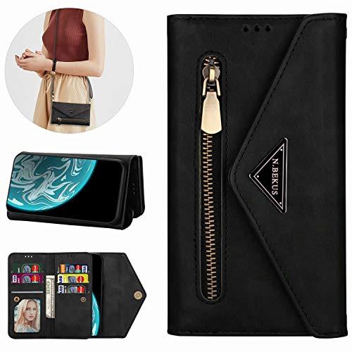 Miagon für Xiaomi Redmi Note 9 Crossbody Reißverschluss Hülle,Brieftasche Geldbörse Handtasche mit Schulterriemen Flip Kartenhalter Ständer PU Leder Cover für Xiaomi Redmi Note 9