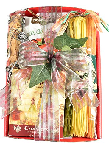 Gift Basket Village - Italian Fare - Gourmet Subscription Box with Italian Dinner Starter, Angel Hair Pasta, All Natural Sauce, Gourmet Crackers and Biscotti, 1 Count