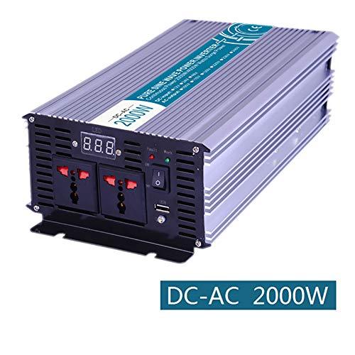 Xingxings 2000 W zuivere sinus spanningsomvormer, omvormer, auto-omvormer DC 12 V op 220 V AC voor auto, boot, camping, laptops, andere kleine apparaten, directe aansluiting op autoaccu